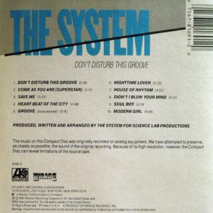 Back Cover Album The System - Don't Disturb This Groove