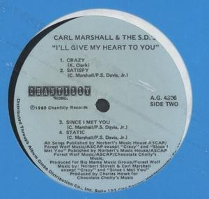 Back Cover Album Carl Marshall And The S.d.'s - I'll Give My Heart To You