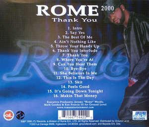 Back Cover Album Rome - Rome 2000  Thank You