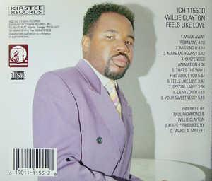 Back Cover Album Willie Clayton - Feels Like Love