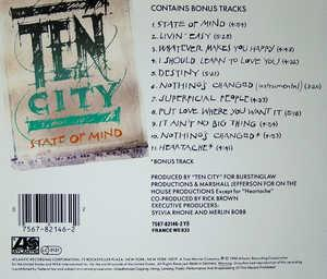 Back Cover Album Ten City - State Of Mind