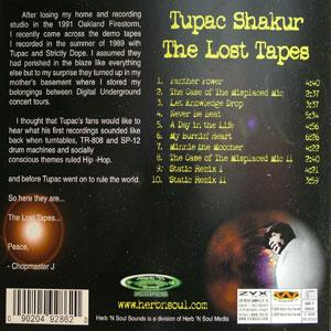 Back Cover Album 2pac - The Lost Tapes