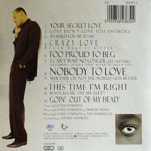 Back Cover Album Luther Vandross - Your Secret Love