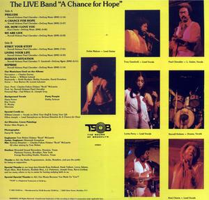 Back Cover Album The Live Band - A Change For Hope