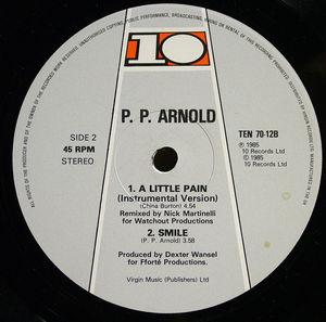 Back Cover Single P.p. Arnold - A Little Pain