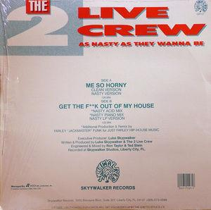Back Cover Single The 2 Live Crew - Me So Horney