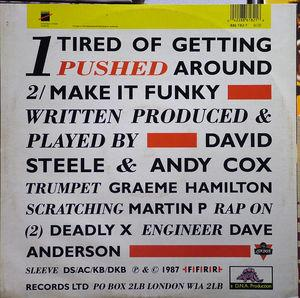 Back Cover Single 2 Men And A Drum Machine - Tired Of Getting Pushed Around