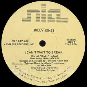 Front Cover Single Billy Jones - I Can't Wait To Break