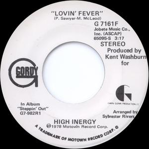 Front Cover Single High Inergy - Lovin' Fever