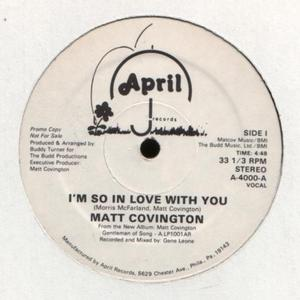 Front Cover Single Matt Covington - I'm So In Love With You