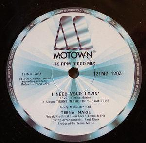 Front Cover Single Teena Marie - I Need Your Loving