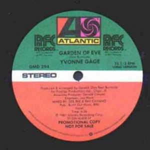 Front Cover Single Yvonne Gage - Garden Of Eve