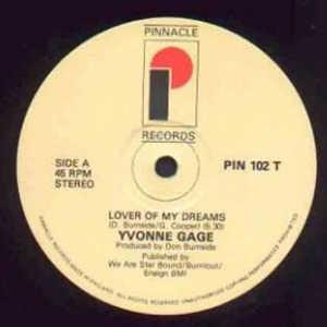 Front Cover Single Yvonne Gage - Lover Of My Dreams