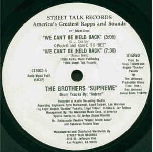 Single Cover The - We Can't Be Held Back Brothers Supreme