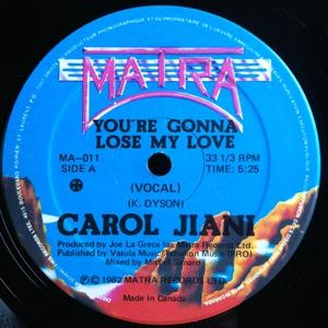 Single Cover Carol - You're Gonna Lose My Love Jiani