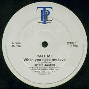 Single Cover Josie - Call Me (when You Need My Love) James
