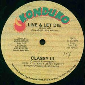 Single Cover Classy Iii - Live & Let Die