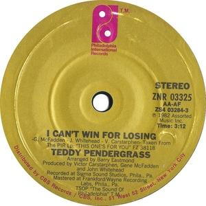 Single Cover Teddy - I Can't Win For Losing Pendergrass
