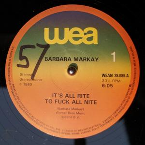 Single Cover Barbara - It's All Rite To Fuck All Nite Markay