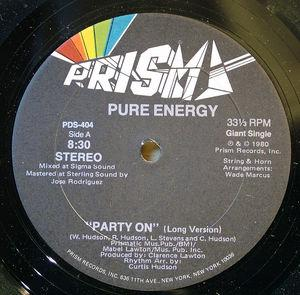Single Cover Pure Energy - Party On