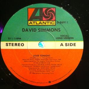 Single Cover David - Love Tonight Simmons