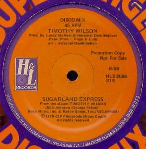 Single Cover Timothy - Sugarland Express Wilson