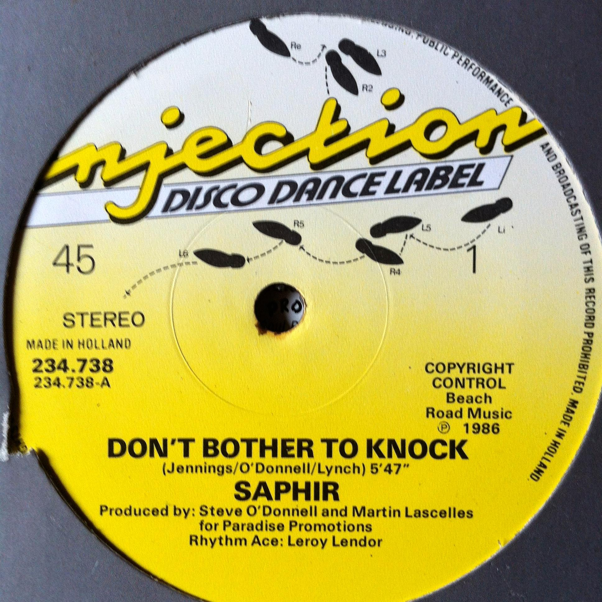 Single Cover Saphir - Don't Bother To Knock