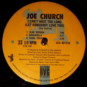 Single Cover Joe - I Can't Wait Too Long (let Somebody Love You) Church
