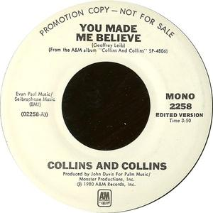 Single Cover Collins And Collins - You Made Me Believe