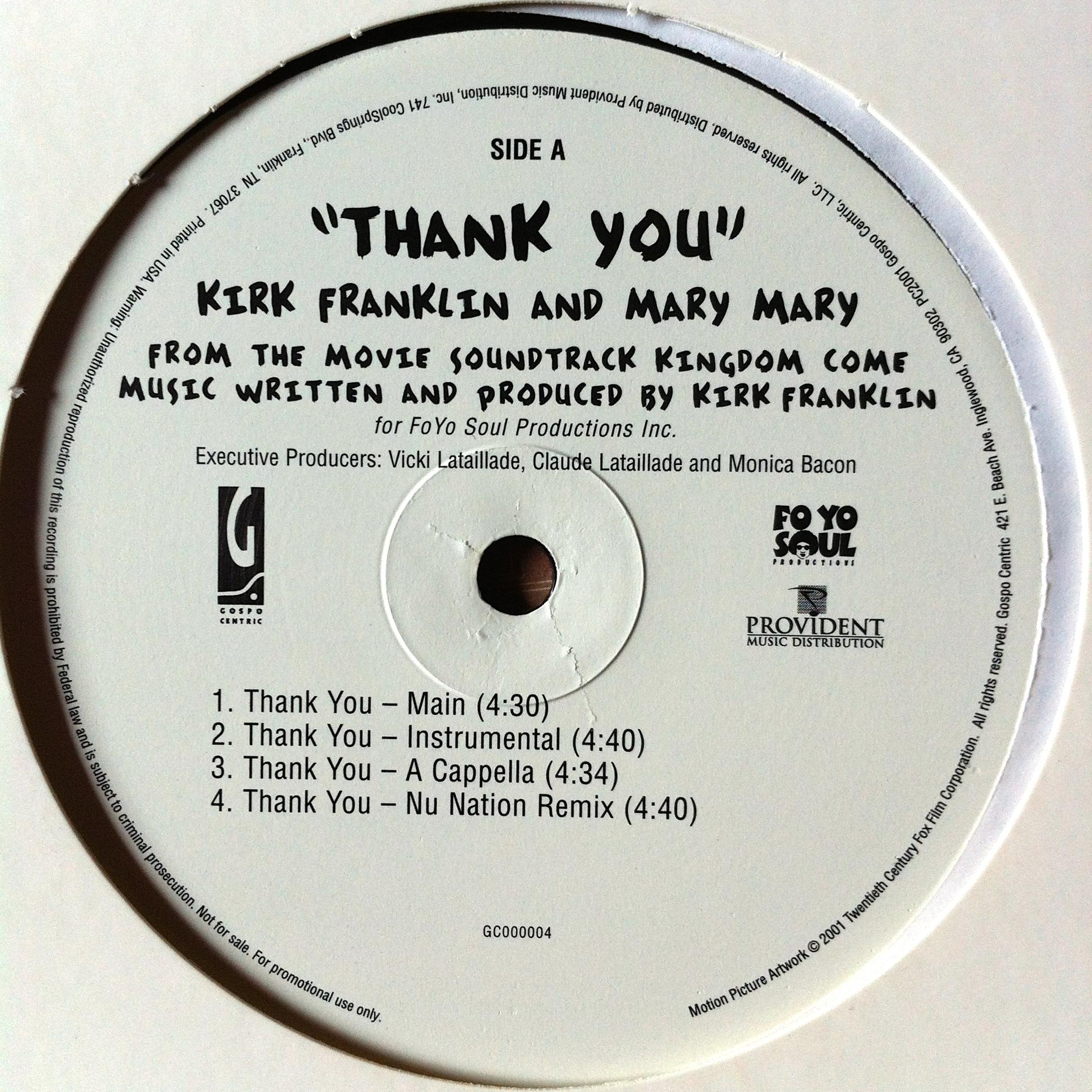 Single Cover Kirk - Thank You Featuring Mary Mary Franklin