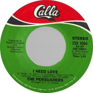 Single Cover The - I Need Love Persuaders