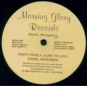 Single Cover Carol - Party People (come To Life) Anderson