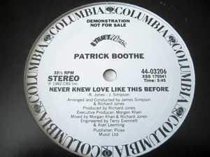 Single Cover Patrick - Never Knew Love Like This Before Boothe