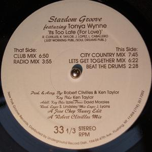 Single Cover Stardom Groove - It's Too Late (for Love) Feat. Tonya Wynne