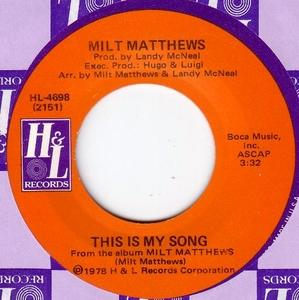 Single Cover Milt - This Is My Song Matthews