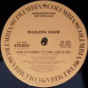 Single Cover Marlena - Shaw Biz - Suddenly It's How I Like To Feel Shaw