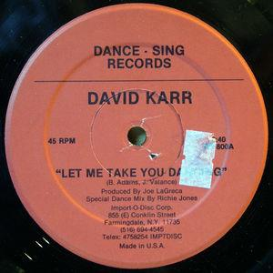 Single Cover David - Let Me Take You Dancing Karr