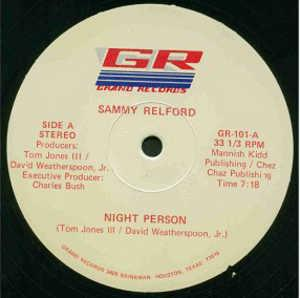 Single Cover Sammy - Night Person Relford