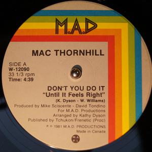 Single Cover Mac - Don't You Do It (until It Feels Right) Thornhill
